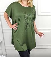 Туника-футболка  женская летняя свободного кроя большие размеры батал 56-64  арт. 2005/2008