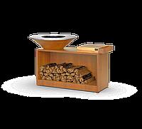 Мангал гриль Holla Grill барбекю с большой открытой тумбой Коричневый