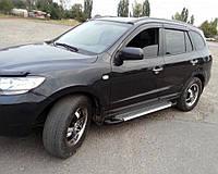 Боковые пороги Line (2 шт., алюминий) для Hyundai Santa Fe 2 2006-2012 гг., фото 1