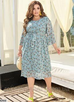 Летнее шифоновое платье XL мятного цвета с цветочным принтом