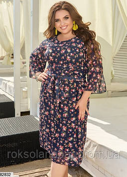 Летнее шифоновое платье XL темно-синего цвета с цветочным принтом