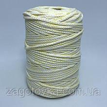 Шнур преміум коттон 3мм меланж білий+блідо жовтий