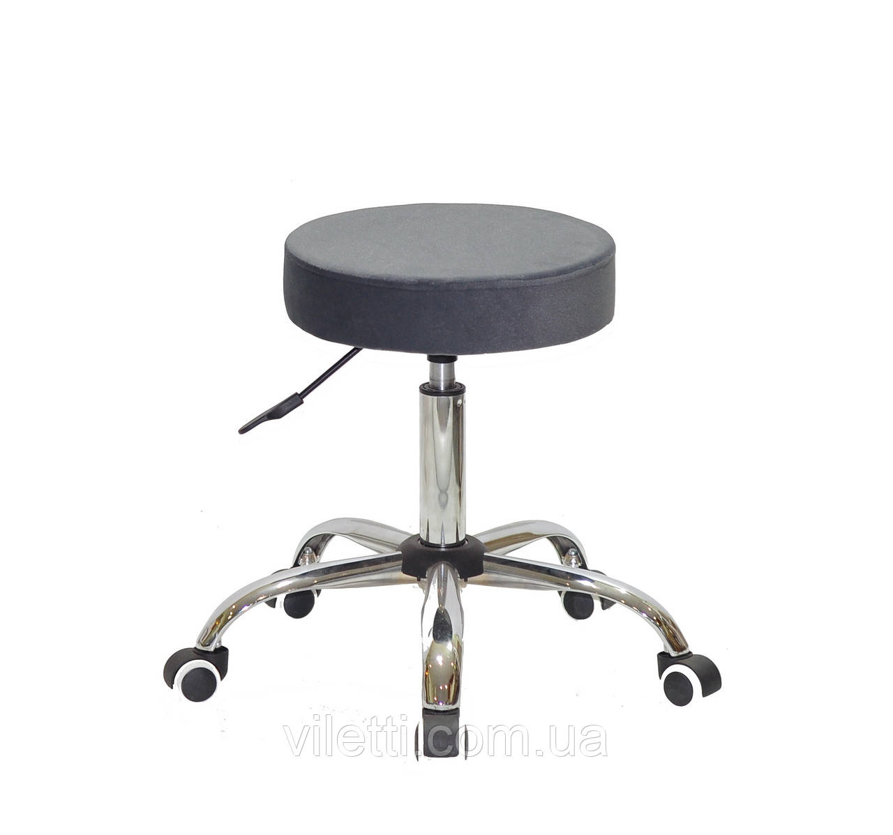 Стул на колесиках в бархатным серым сиденьем Key CH - Office, кресло без спинки на колесиках