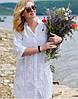 Жіноча пляжна туніка - сорочка Анталья біла з натуральної бавовни  з вишивкою