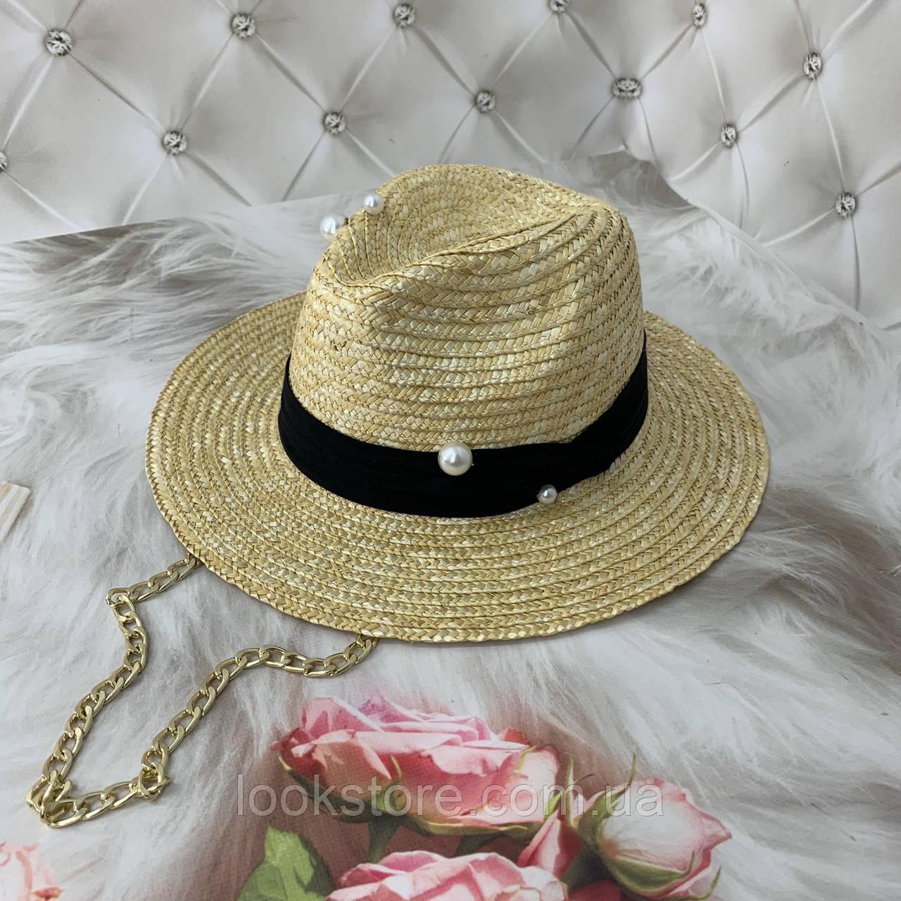 Женская соломенная летняя шляпа Федора с цепочкой Pin Pearls