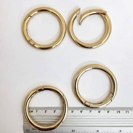 Карабин кольцо золотой, 38 мм металл, фото 2