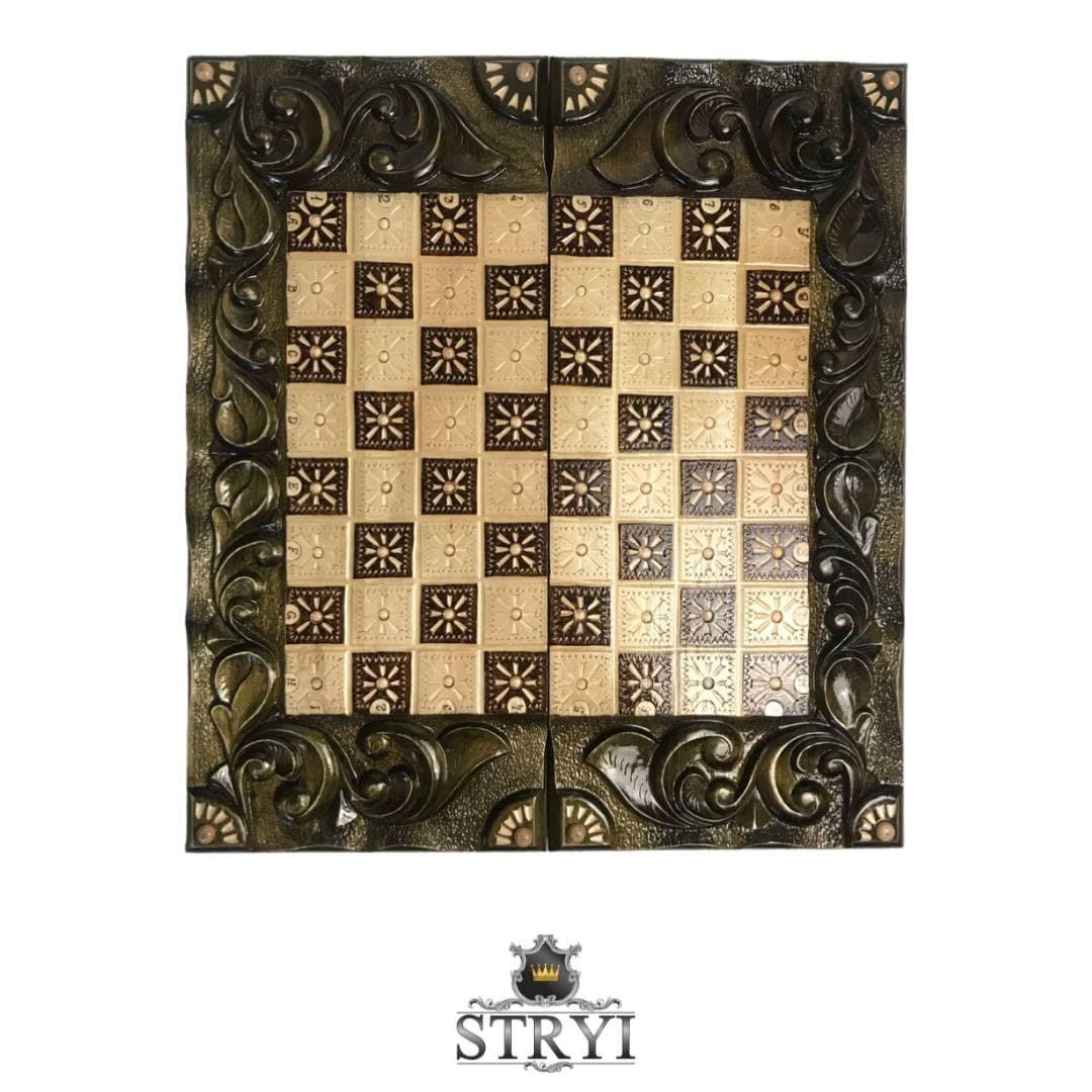 Шахматы, шашки и нарды 3в1 ручной работы