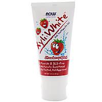 Детский зубной гель с клубничным вкусом, 3 унции (85 г), Now Foods, Solutions, XyliWhite, Kids Toothpaste Gel