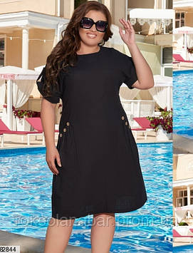 Платье XL черного цвета с деревяными пуговицами на карманах