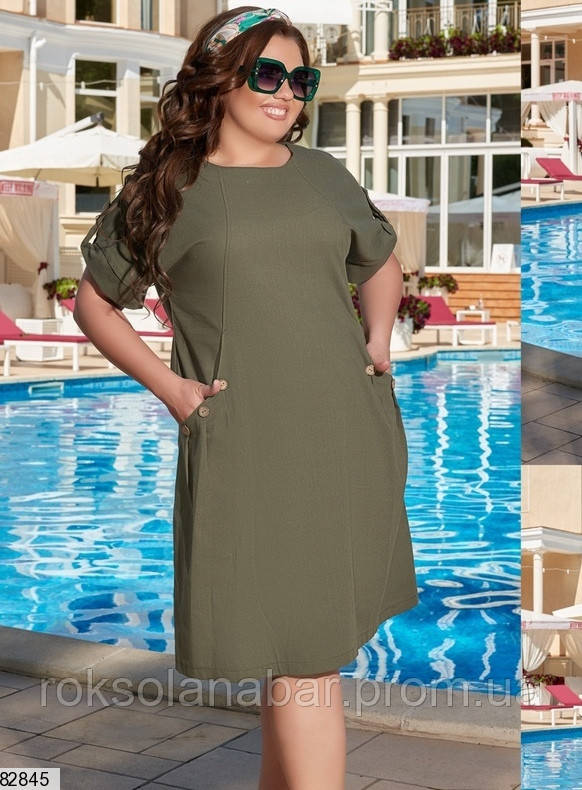 Платье XL цвета хаки с деревяными пуговицами на карманах