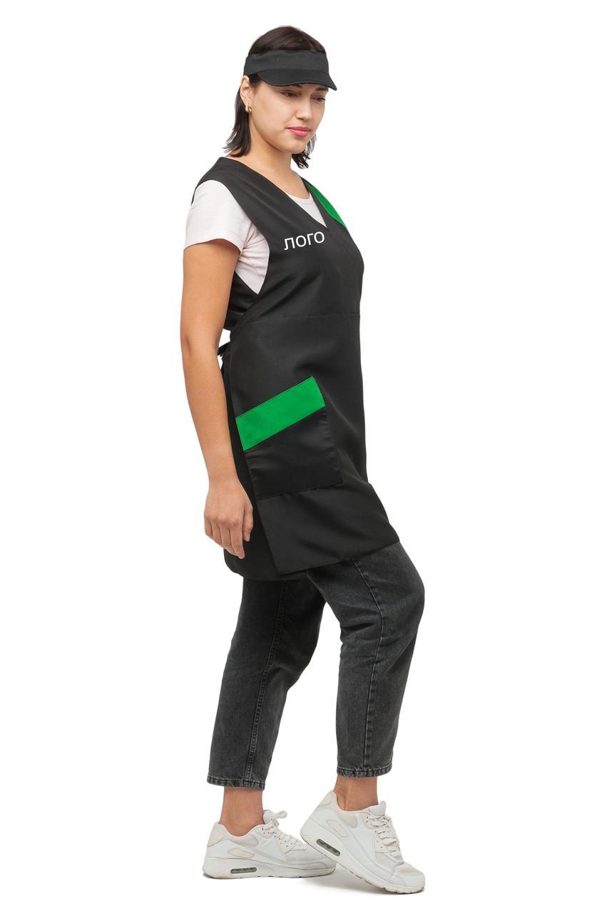 Фартух хітон продавця касира покоївки прибиральниці (подвійний зі спинкою) з  Вашим логотипом