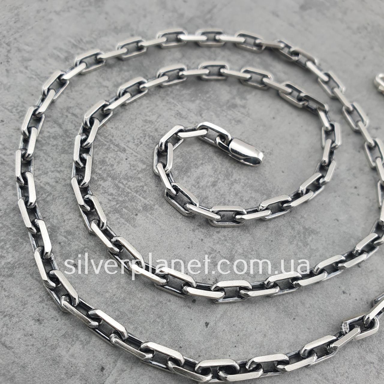Срібний ланцюжок чоловічий якірного плетіння. Цепочка срібло 925. Якір, довжина 60 см, вага 26 гр