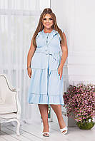 Жіноче легке плаття з поясом батал