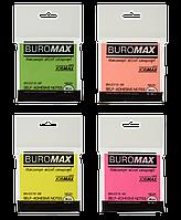 #$Блок бумаги для записей NEON с клейким слоем JOBMAX 76х76 мм 80 л 4 цвассорти