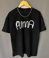 Чёрная мужская футболка оверсайз Puma | Турция, фото 1