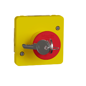 MUREVA S МЕХАНІЗМ АВАРІЙНОГО ВИМИКАЧА з ключем д/активації 3А, жовтий, IP55, фото 2