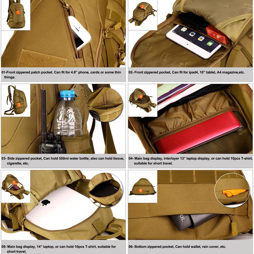 Рюкзак тактический Eagle M08G (штурмовой, военный) мужская сумка Оливковый 15 л. - фото 10