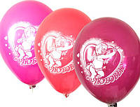 """Воздушные шарики пастель  шелкография амурчик + с любовью 12"""" (30 см) оптом ТМ Gemar"""