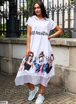 """Сукня XL білого кольору з принтом """"Дівчата в окулярах"""""""