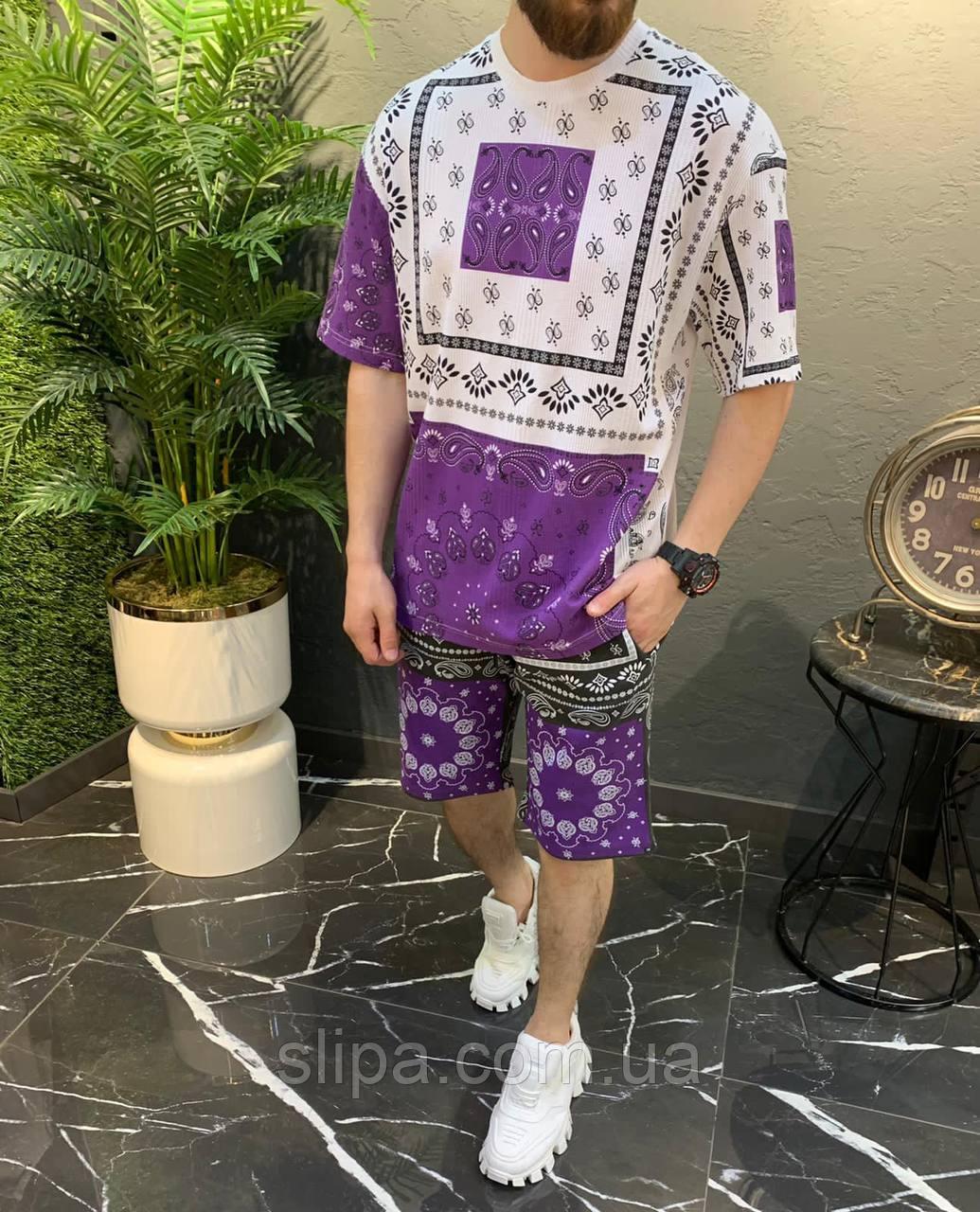 Літній чоловічий оверсайз комплект футболка + шорти орнамент | Туреччина | 100% бавовна