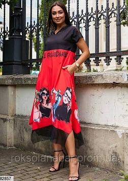 """Платье XL красного цвета с принтом """"Девочки в очках"""""""