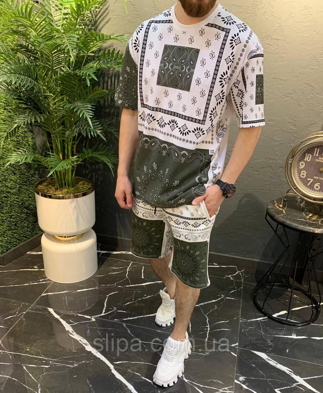 Летний мужской оверсайз комплект футболка + шорты орнамент | Турция | 100% хлопок