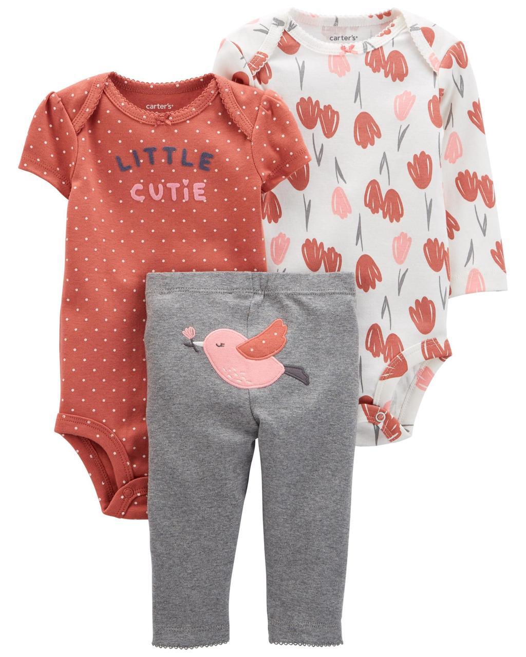 Комплект бодиков і штанці для дівчинки Carters Пташка