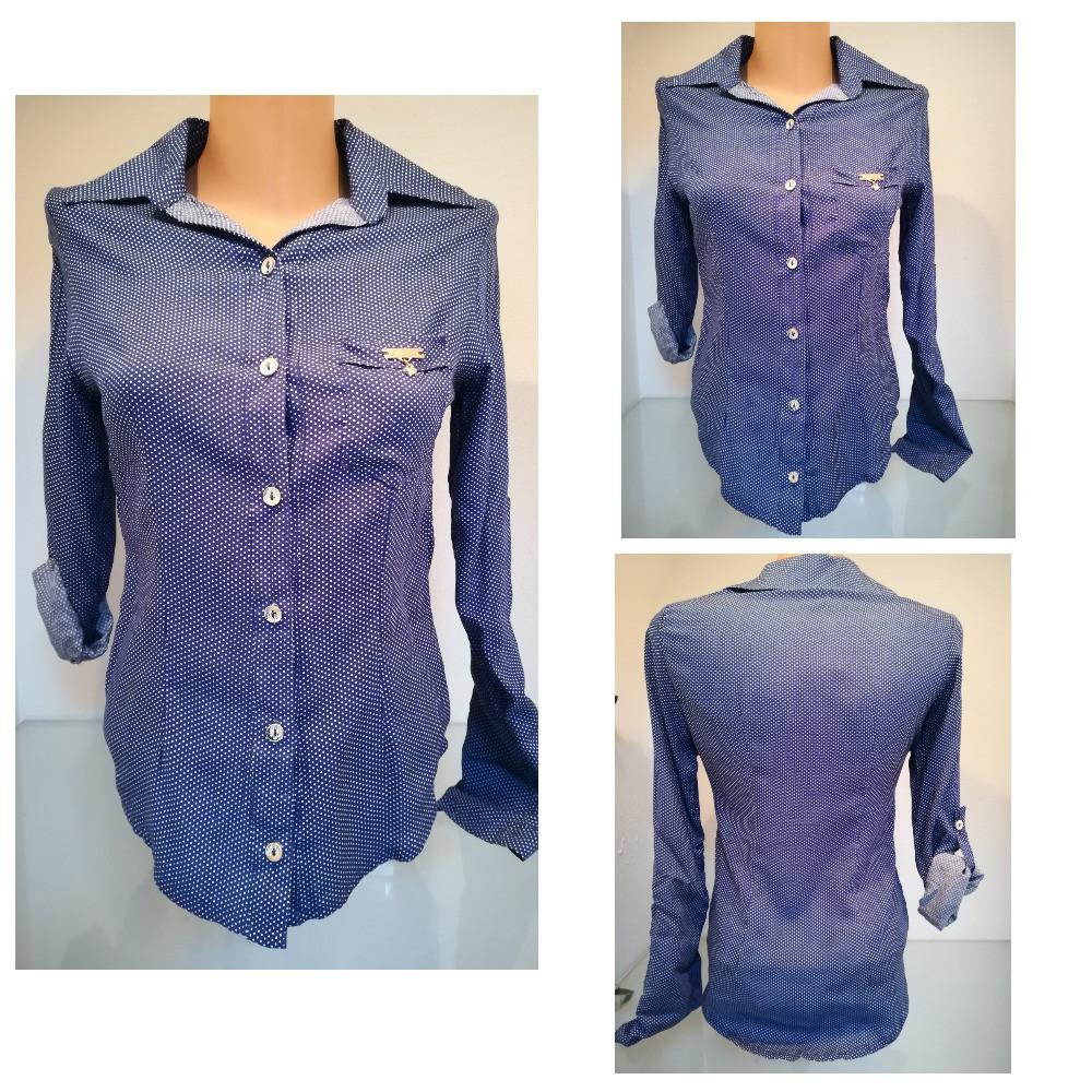 Оригінальна блуза-сорочка з довгим рукавом застібається на гудзики рукавчик підвертається