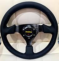 Руль спортивный MOMO прямой кожа под 6 болтов! Качество! Спорт руль кожа черный