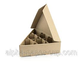 Коробка для яиц на 6 шт треугольная, бурая, 200 шт/ящ