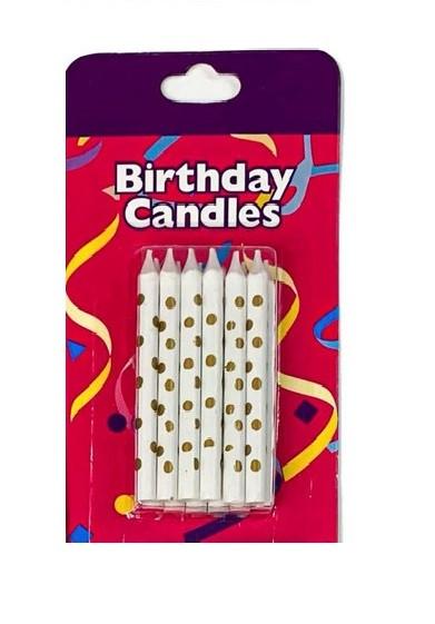 Свічки для торту 5,5 див. білі з золотими крапочками (12 шт.)