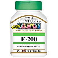 Витамин E-200, 110 капсул, 21st Century Health Care, E-200