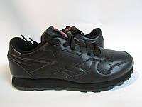 Мужские кроссовки Reebok (9168-3) черные натуральная кожа код 869А
