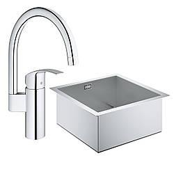 Набор Grohe мойка кухонная K700 31578SD0 + смеситель Eurosmart 33202002