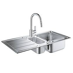 Набор Grohe мойка кухонная K500 31572SD0 + смеситель Eurostyle Cosmopolitan 31482003