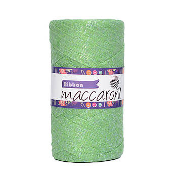 Ленточный шнур Maccaroni Ribbon Glitter 6 mm Зеленое яблоко