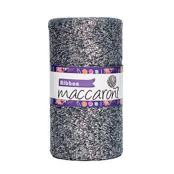 Ленточный шнур Maccaroni Ribbon Glitter 6 mm Никель