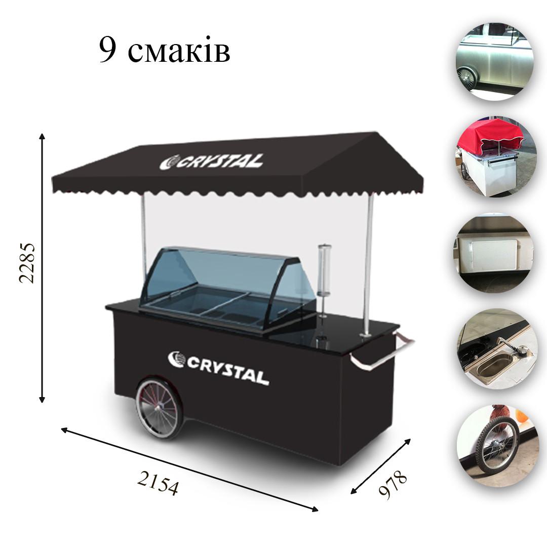 MOBILE ELEGANTE Морозильная передвижная витрина с гнутым стеклом для мягкого мороженого CRYSTAL S.A. Греция