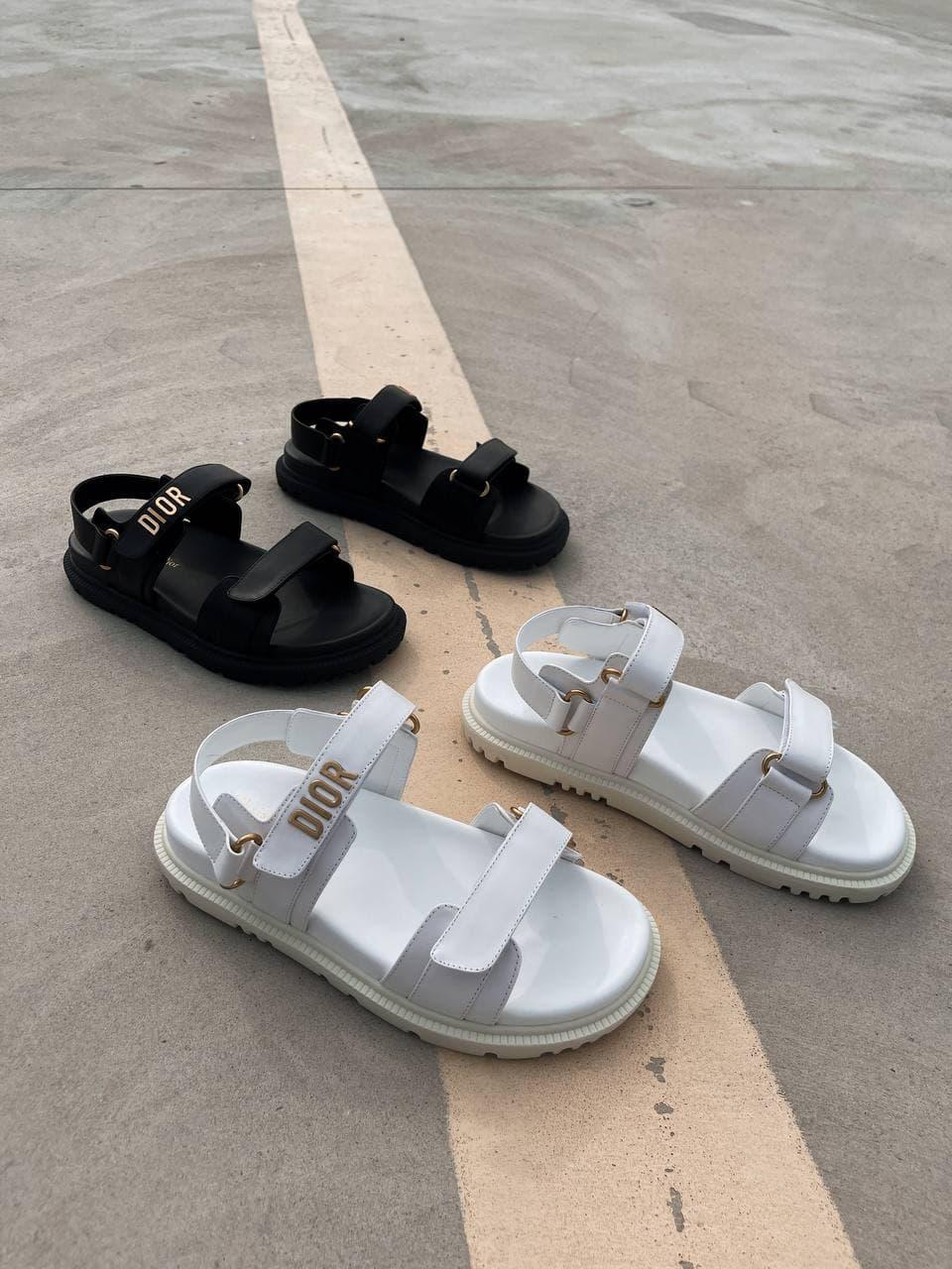 Сандалии женские Dior Sandals (Premium) белые. Женские спортивные босоножки Диор белого цвета.