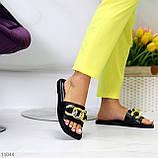 """Шльопанці жіночі чорні """"ЛАНЦЮГ"""" квадратний носок еко шкіра, фото 5"""