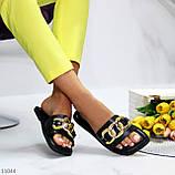 """Шльопанці жіночі чорні """"ЛАНЦЮГ"""" квадратний носок еко шкіра, фото 6"""