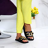 """Шлепанцы женские черные """"ЦЕПЬ"""" квадратный носок эко кожа, фото 7"""