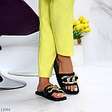 """Шльопанці жіночі чорні """"ЛАНЦЮГ"""" квадратний носок еко шкіра, фото 7"""