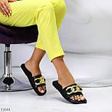 """Шлепанцы женские черные """"ЦЕПЬ"""" квадратный носок эко кожа, фото 10"""