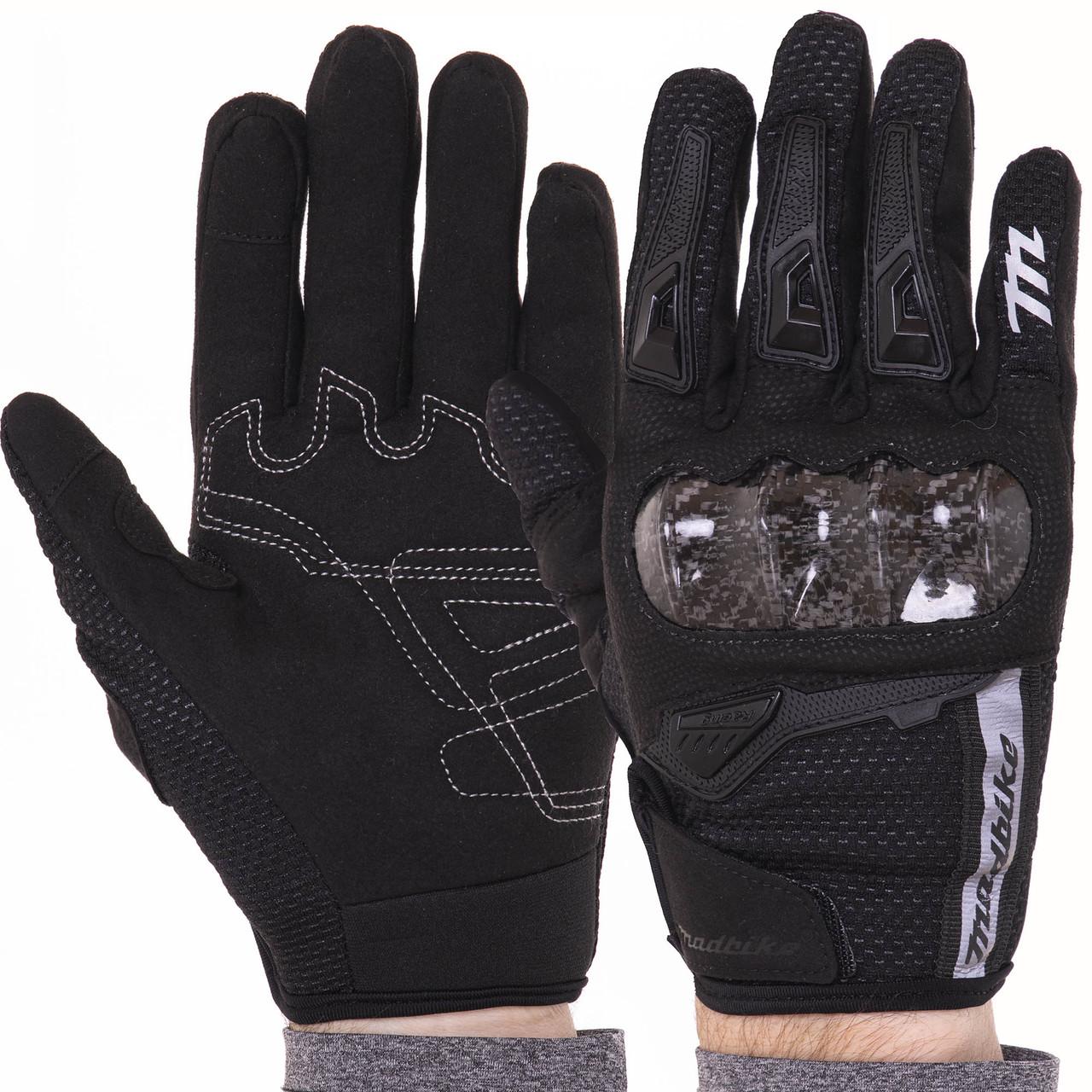 Мотоперчатки мужские женские с защитой взрослые MADBIKE Перчатки для мотоцикла Черный (MAD-66) M