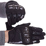 Мотоперчатки мужские женские с защитой взрослые MADBIKE Перчатки для мотоцикла Черный (MAD-66) M, фото 3