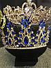 Диадема с синими камнями, тиара высокая, корона на голову , корона на конкурс красоты, фото 2