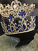 Диадема с синими камнями, тиара высокая, корона на голову , корона на конкурс красоты, фото 3