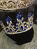 Диадема с синими камнями, тиара высокая, корона на голову , корона на конкурс красоты, фото 4