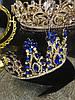 Диадема с синими камнями, тиара высокая, корона на голову , корона на конкурс красоты, фото 6